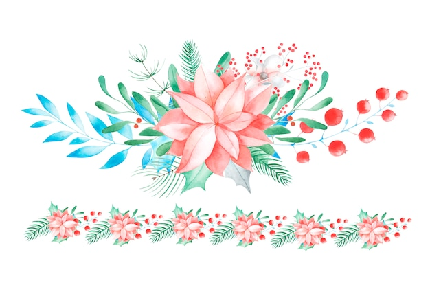 Decorazioni floreali natalizie. fiori e piante tradizionali dipinti a mano: agrifoglio, vischio, bacche e ramo di abete isolato su priorità bassa bianca.