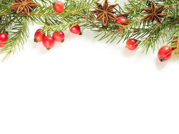 Decorazioni natalizie su bianco, bacche rosa canina, stelle, rami di abete.