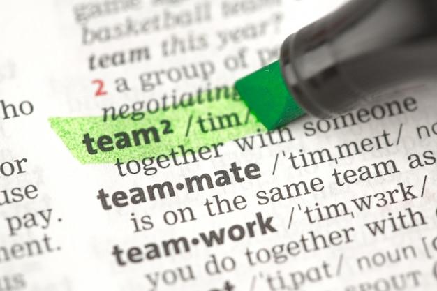 Definizione del team evidenziata in verde