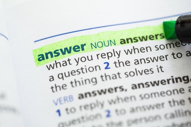 Definizione della risposta evidenziata
