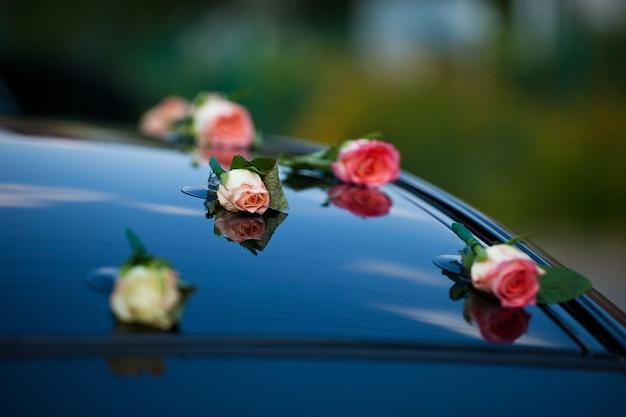Delicati boccioli di rosa rosa messi sul cofano dell'auto