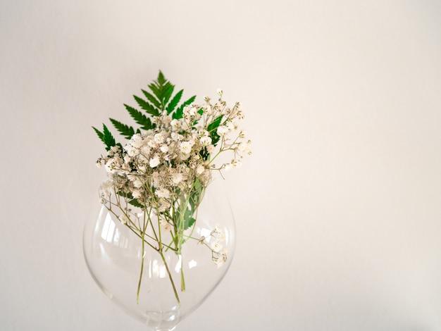 Delicati piccoli fiori bianchi su sfondo bianco dalla parte anteriore. gypsophila su vetro con foglia di felce