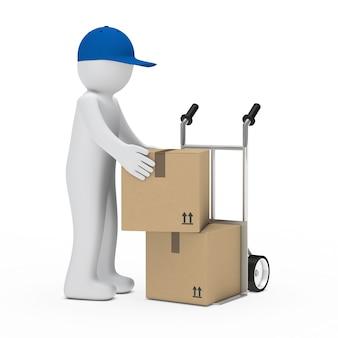 Deliveryman con scatole blu tappo in movimento
