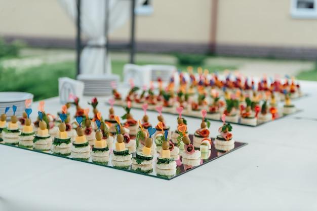 Deliziose tartine come piatto per eventi