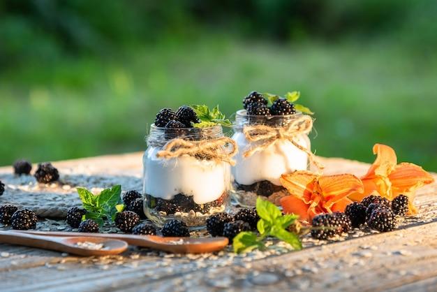 Delizioso yogurt fresco con more