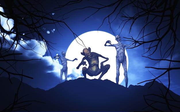 Demoni di halloween 3d in un paesaggio spettrale