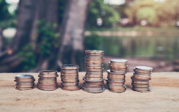 Denaro, monete in crescita concetto e il successo degli obiettivi finanziari.