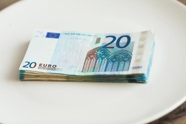 Denaro sdraiato sul piatto. foto di euro. corruzione avida. idea di bustarella.