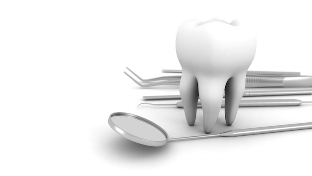 Dente con attrezzatura da dentista