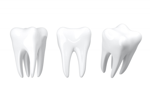 Denti bianchi di bellezza alta vicina dell'isolato. rendering 3d