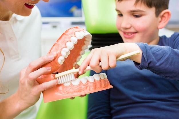 Dentista che spiega il dente di pulizia del ragazzo