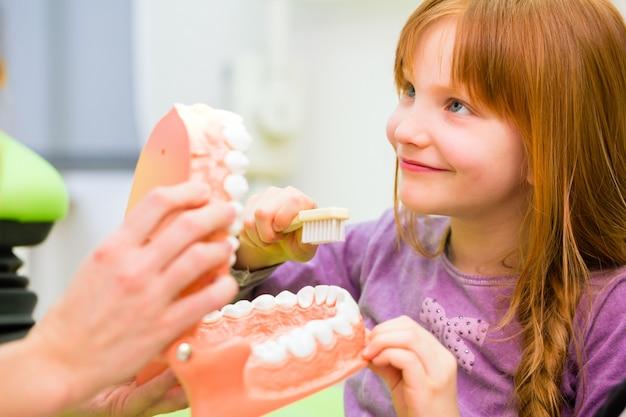 Dentista che spiega il dente di pulizia della ragazza