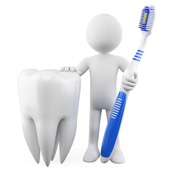 Dentista con un dente e uno spazzolino da denti