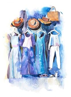Deposito del centro commerciale con i vestiti che appendono l'illustrazione dell'acquerello