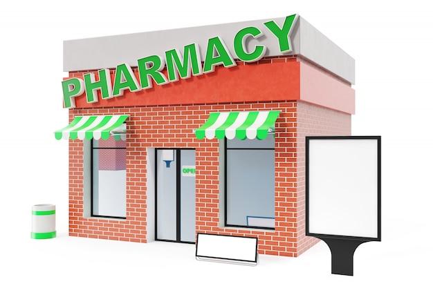 Deposito della farmacia con il bordo dello spazio della copia isolato su fondo bianco. moderni edifici per negozi, facciate di negozi. mercato esterno. magazzino esterno della facciata, rappresentazione 3d