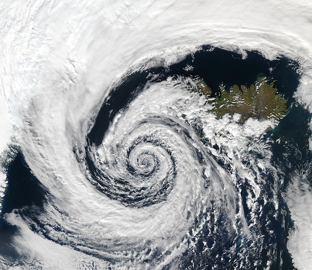 Depressione meteo islanda registrazione satellitare ciclone