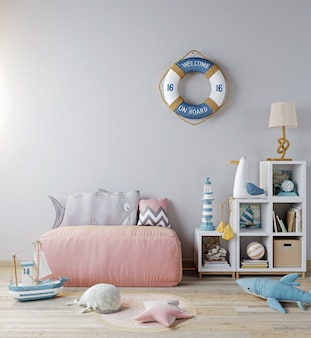 Derida sul fondo interno della stanza di bambini, sul sofà rosa e sui giocattoli. stile scandinavo, stile mare, rendering 3d