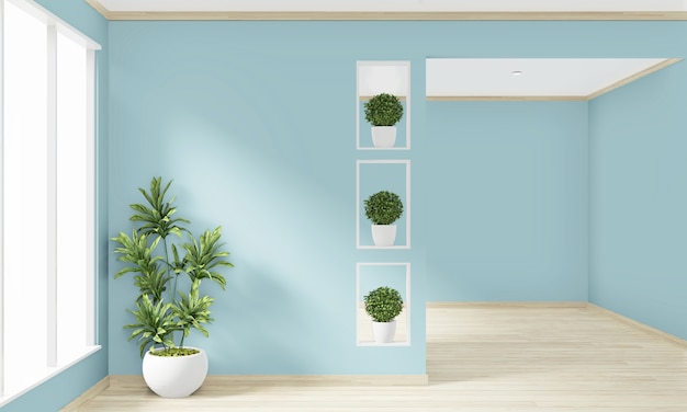 Derida sulla parete di menta vuota della stanza su interior design di legno del pavimento. rendering 3d