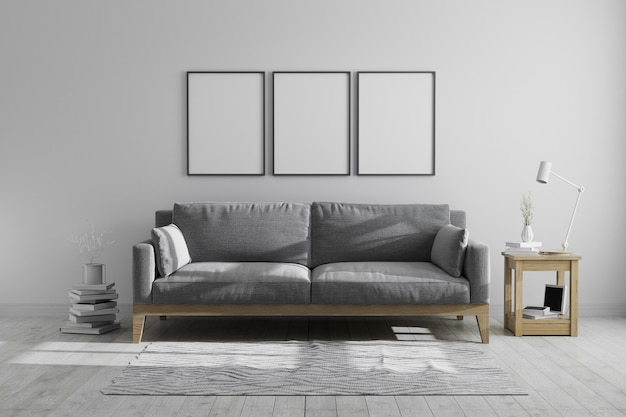 Derida sulle strutture del manifesto nei toni grigi moderni degli interni scandinavi di stile dei pantaloni a vita bassa, strutture in bianco nell'interno moderno, la rappresentazione 3d