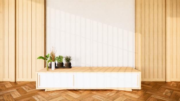 Deridere sull'interno l'armadio in legno e la decorazione delle piante sull'interno della camera tropicale, rendering 3d