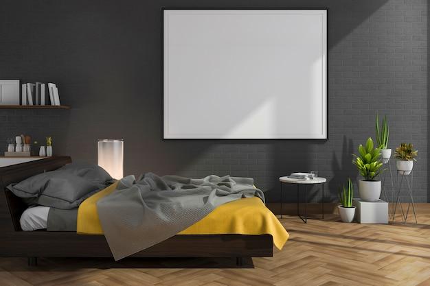 Derisione della rappresentazione 3d sulla camera da letto nera del muro di mattoni con la decorazione del sottotetto