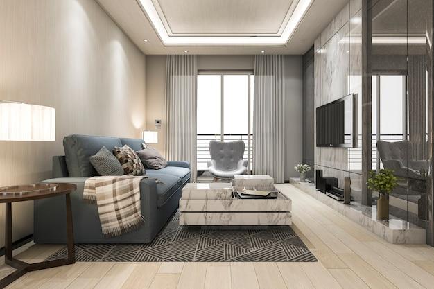 Derisione della rappresentazione 3d sulla struttura in salone con il sofà