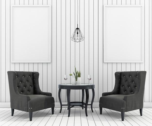 Derisione della rappresentazione 3d sulla struttura in salone con la poltrona classica