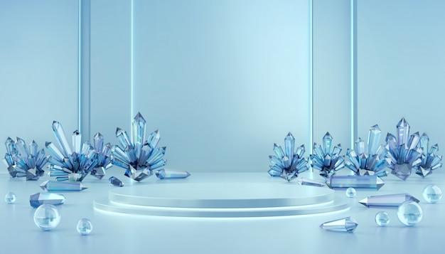 Derisione di lusso astratta della fase su con la sfera caustica di vetro e di cristallo, modello per la pubblicità del prodotto, rappresentazione 3d.