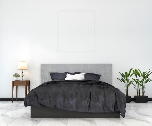 Derisione minima d'annata della rappresentazione 3d sulla camera da letto nello stile scandinavo
