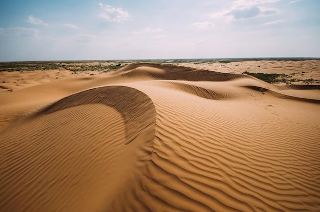 Deserto con dune di sabbia in una limpida giornata di sole. paesaggio desertico