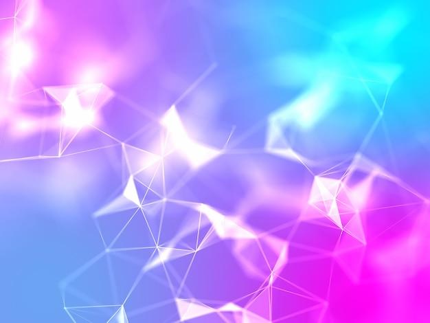 Design 3d a basso poli plesso con colori vivaci