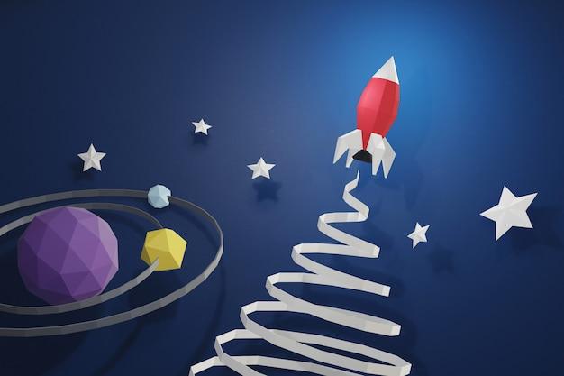 Design 3d rendering, stile paper art di lancio di razzi nello spazio.
