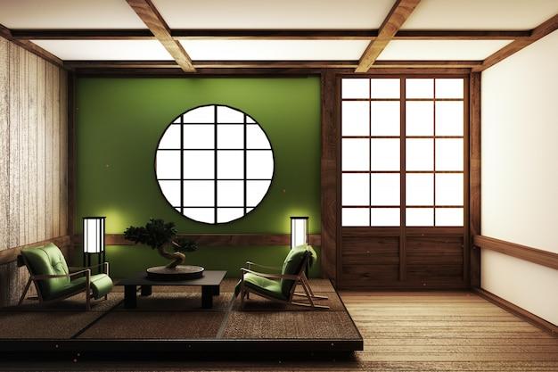 Design della stanza in stile zen. rendering 3d