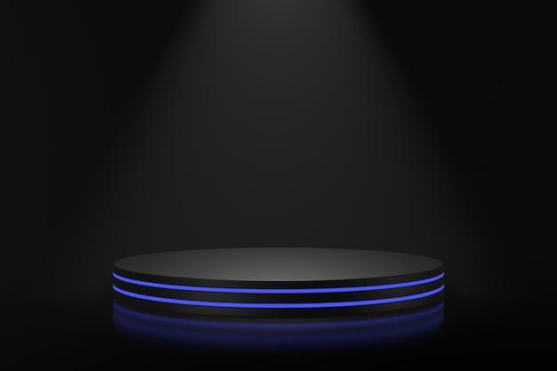 Design dello stand del prodotto con illuminazione blu. rendering 3d.