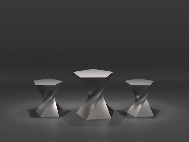 Design di piedistalli in metallo per la rappresentazione del prodotto con punti luce nello spazio.