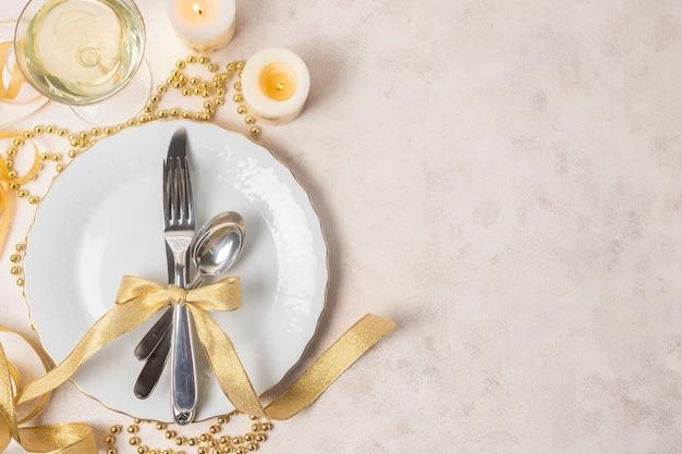 Design elegante per copia-spazio per la cena