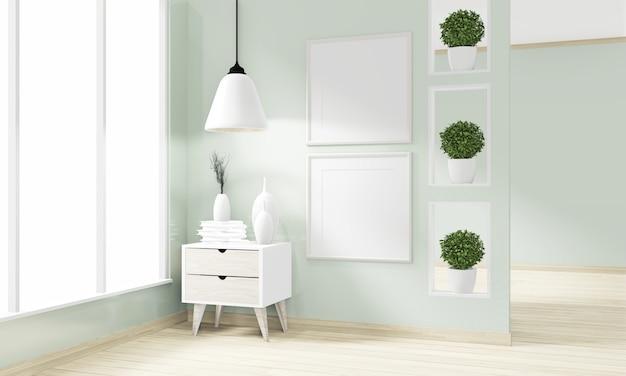 Design giapponese minimalista in legno su design moderno di zen in camera. rendering 3d