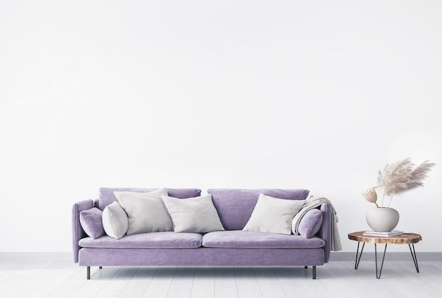 Design minimal soggiorno, divano viola su sfondo bianco, decorazioni per la casa con accessori alla moda