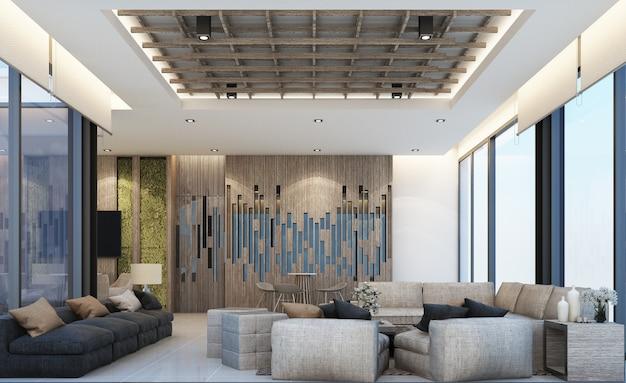 Design moderno del mainhall dell'area di attesa del loft con struttura in legno in appartamento o condominio rendering 3d