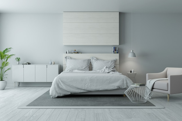Design moderno e minimalista della camera da letto, concetto di camera bianca e grigia accogliente