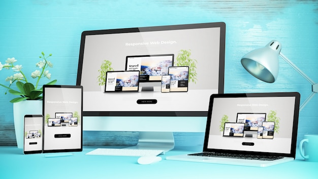 Desktop responsive blu con dispositivi che mostrano un sito web responsive