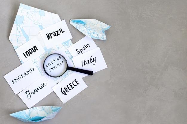 Destinazione del viaggio, selezione del paese per i viaggi, dove andare in vacanza, mappa ingranditore