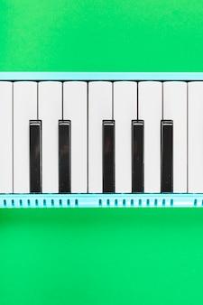 Dettaglio della tastiera in bianco e nero del piano classico su priorità bassa verde