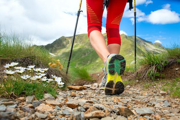 Dettaglio delle gambe vicino ai fiori di una ragazza che pratica il nordic walking in montagna