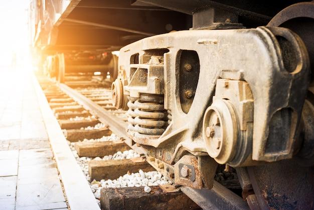 Dettaglio delle ruote su un treno a vapore
