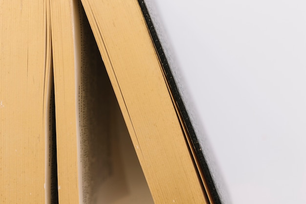 Dettaglio di un vecchio libro vintage su sfondo bianco