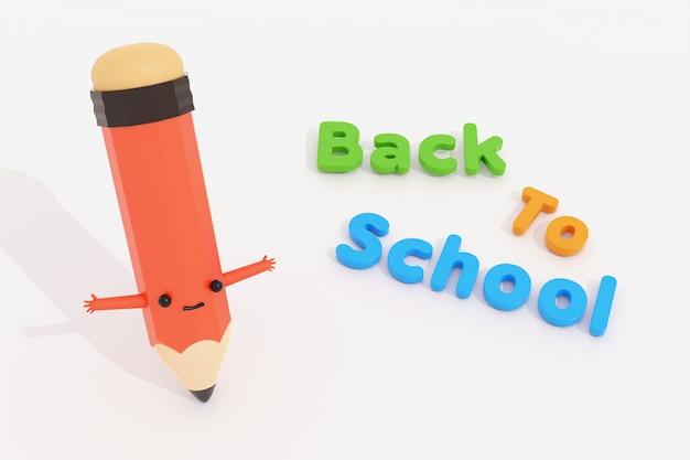 Di nuovo al testo di scuola con il personaggio dei cartoni animati della matita, oggetto dell'illustrazione 3d.