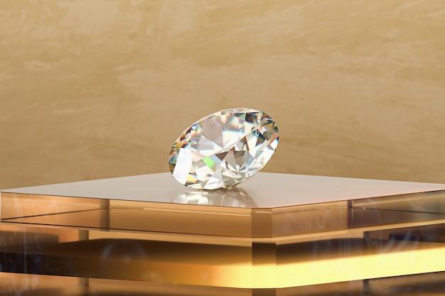 Diamante brillante posizionato sul display del podio d'oro, rendering 3d.