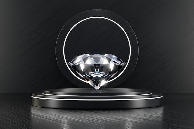 Diamante brillante posto su supporto di lusso deridendo con la rappresentazione nera della parete 3d.