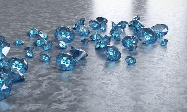 Diamanti blu disposti su fondo nero, illustrazione 3d.